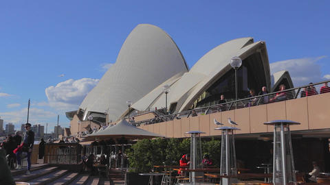 a view of the opera house from the patio on a nice Footage