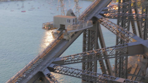 close angle low to high tilt of the sydney harbour Footage