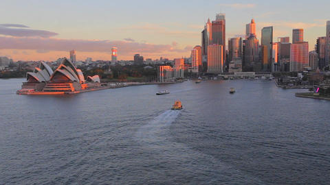 golden hour aerial - sunlight on the opera house,  Footage