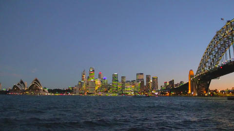 early evening view of the sydney harbour bridge,cb Footage