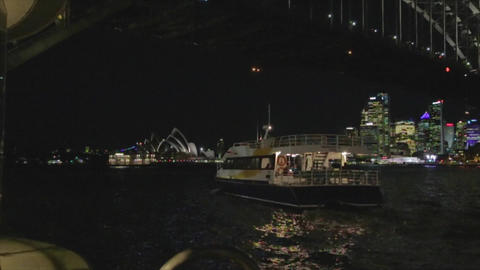 ferry going under the Sydney harbour bridge in the Footage