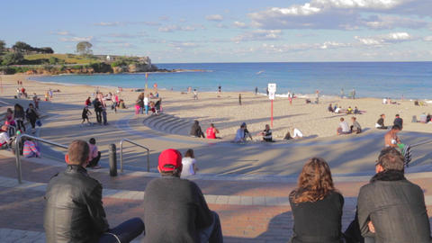 a sunny pan of coogee beach Stock Video Footage