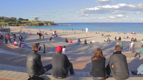 a sunny pan of coogee beach Footage