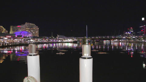 evening landscape of darling harbour Footage