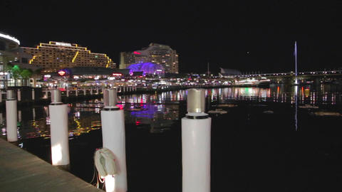 evening pan of darling harbour sydney australia Footage