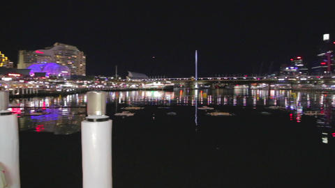 evening pan of darling harbour sydney australia Stock Video Footage