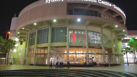 high to low tilt of the sydney convention center t Footage