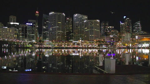 the evening CBD skyline from darling harbour Footage