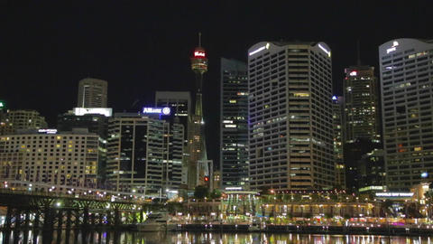 a medium shot - evening CBD skyline from darling h Stock Video Footage