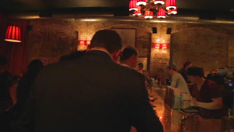 sydney nightlife - pan in an irish themed bar Footage