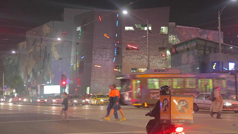 evening at swanson street and federation square pe Footage