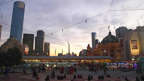 vibrant sunset federation square of the south yarr Footage