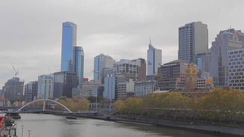 wide shot of south yarra and skyline and bridge Footage