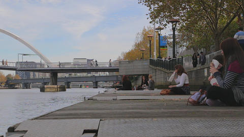 cinematic shot on the southbank promenade and skyl Stock Video Footage