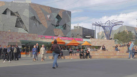 2 angles - wide federation square to closeup of pe Footage