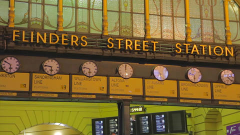 3 angles of flinders street station in the evening Footage