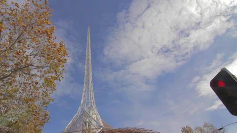 a wide angle of the spire of the arts centre with Stock Video Footage