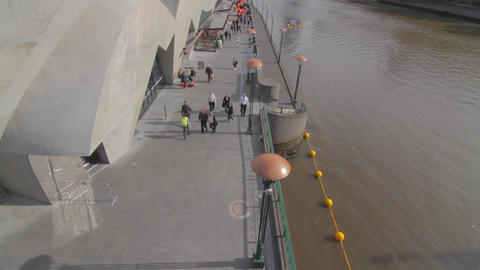overhead cinematic dolly shot of south bank and ya Stock Video Footage