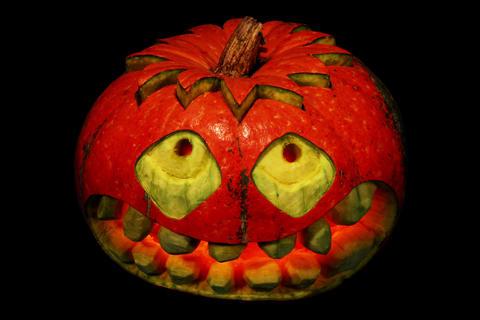 4K. Carved Halloween pumpkin ALPHA matte, Ultra HD Footage