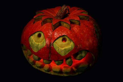 4K. Carved Halloween pumpkin ALPHA matte, Ultra HD Footage