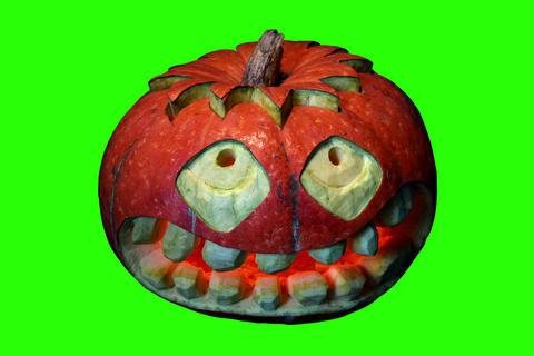 4K. Carved Halloween pumpkin green screen, Ultra H Footage