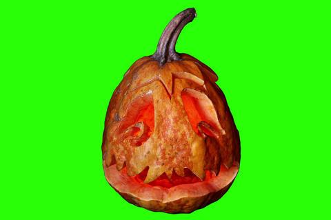 4K. Carved Halloween pumpkin green screen, Ultra H Stock Video Footage