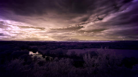 4K. InfraRed landscape: Movement of clouds over th Footage