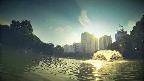 Lumpini Park Lake Fountain Footage
