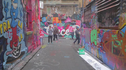 180 degree pan of graffiti street art at Hosier an Footage