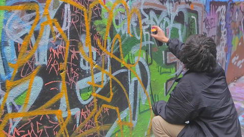 2 scenes - graffiti street art at Hosier and Rutle Stock Video Footage