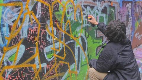 2 scenes - graffiti street art at Hosier and Rutle Footage