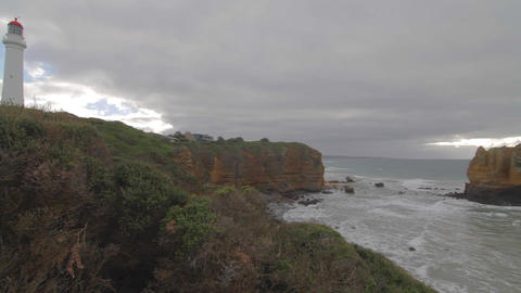 pan of Cape Otway Lightstation and Otway coast Stock Video Footage