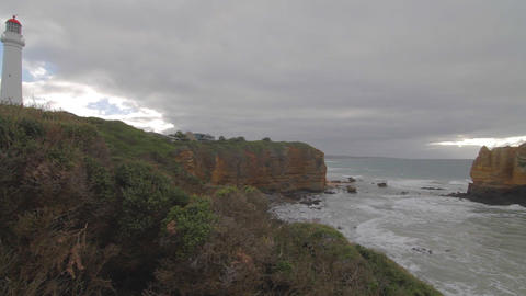 pan of Cape Otway Lightstation and Otway coast Footage