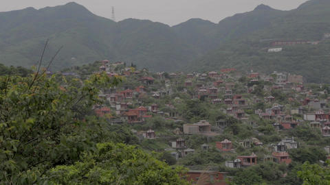 pan of jiufen town from keelung mountain Stock Video Footage