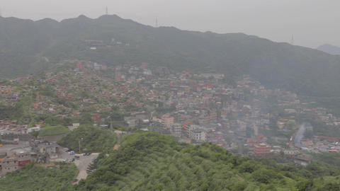 pan of jiufen town from keelung mountain observati Footage