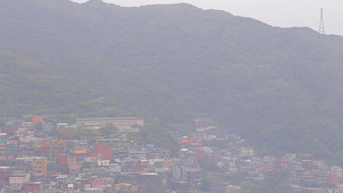 high to low tilt aerial of jiufen Stock Video Footage