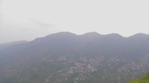 aerial pan from the top of keelung mountain Stock Video Footage
