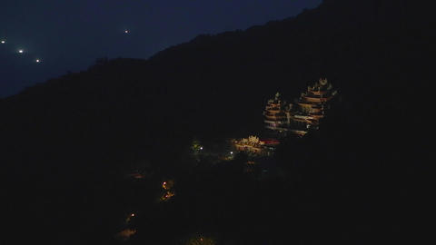 evening - birds eye view fushan temple Footage