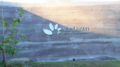 Dolly Shot - Vandusen Botanical Garden Sign stock footage