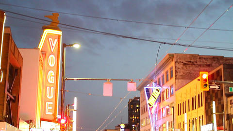 high low tilt onto Granville street entertainment  Footage