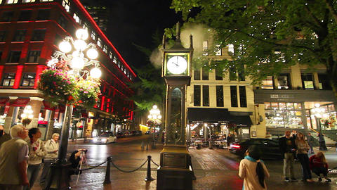 evening - gastown clock on the hour Footage