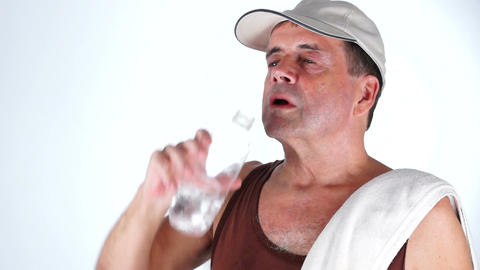 Adult Male Drinks Refreshing Water After Exercisin Stock Video Footage