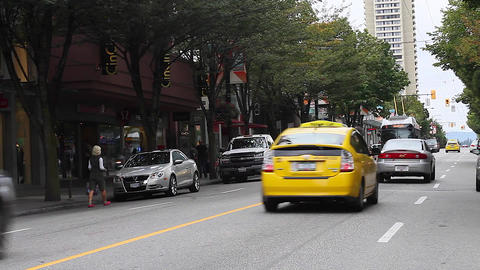 robson st - middle of the street special angle Footage