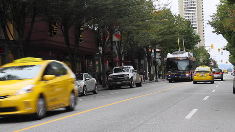 robson st - middle of the street special angle Stock Video Footage