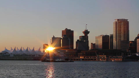 vancouver skyline - beautiful sunny morning Footage