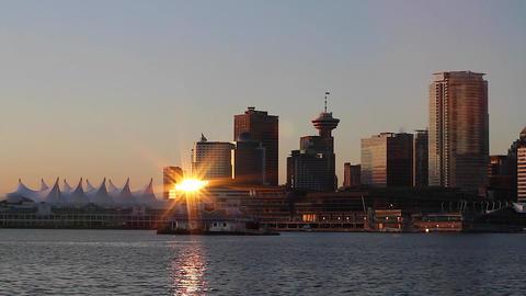 vancouver skyline - beautiful sunny morning Footage