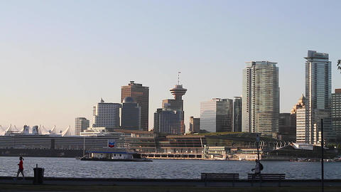 vancouver skyline from stanley park hd Stock Video Footage