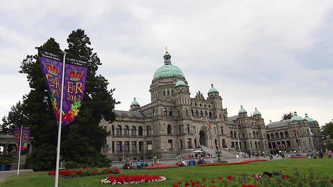 Dolly Shot - Victoria Canada Parliament Building stock footage