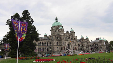 dolly shot - Victoria Canada Parliament Building Stock Video Footage