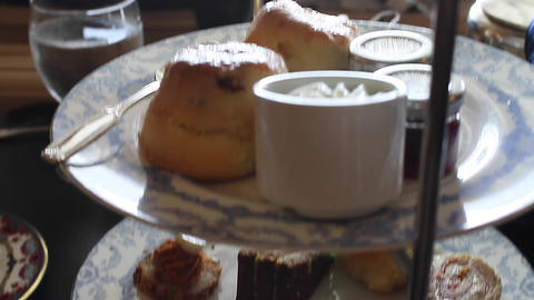 food at afternoon tea - at the empress hotel 2 Stock Video Footage